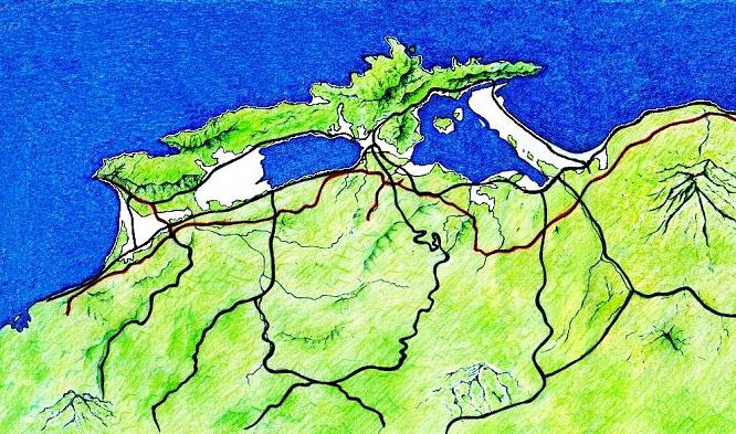 古事記おじさんの秘蔵資料室 - 資料No.1「古代の海岸線手書きの図」